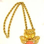 SALE Modernist Lion with Coral Cabochon Pendant Necklace