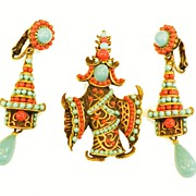 SALE Turq and Coral Cabochon Asian Inspired Dancing Lady Brooch with Drop Earrings
