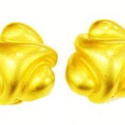 SALE KJL Modernist Sculptural Matte Finish Gold Tone Earrings