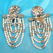 SALE Giant Rhinestone and Imitation Pearl Drippy Earrings with Rondelles