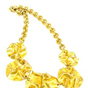 SALE P & M Paris Chunky Crunchy Gold Tone Necklace