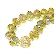 SALE Giant Faceted Rainbow Crystal Necklace with Clear Rhinestone Clasp