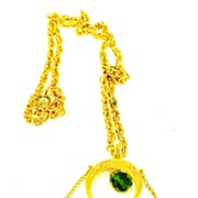 SALE VENDOME Dangling Green Bead Persian Inspired Pendant Necklace
