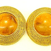 SALE Mottled Amber Tone Earrings with Braided Gold Tone Edge