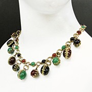 SALE Green, Rust and Black Cabochon Book Chain Necklace with Dangling Charms