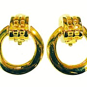 SALE GIVENCHY Gold Tone Metal Drop Huggy Hoop Earrings with Grid Design