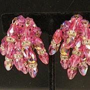 SALE Incredible Pink and Rhinestone Rondelle Multi Cluster Dripping Earrings