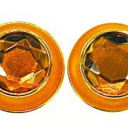 SALE Tangerine Orange Faceted Rhinestone and Enamel Giant Button Earrings