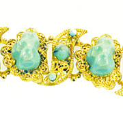 SALE Turq Dragon Egg and Cabochon Filigree Station Bracelet with Double Roll Back
