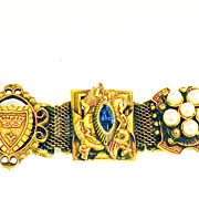 SALE Heraldic Knights on Horses and Shields Medallion Shield Slide Bracelet on Mesh Base