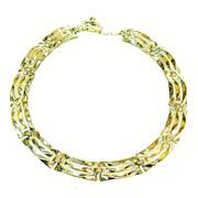 SALE TRIFARI Silver Tone Metal Modernist Sculptural Articulated Link Necklace