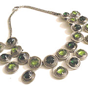 SALE Peridot and Emerald Colored Glass Cabochon Arts and Crafts Wild Bib Necklace