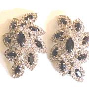 SALE KENNETH LANE Black and Clear Rhinestone Leafy Earrings