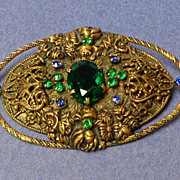 "SALE Czech Brooch.  Very Large 3"" x 2"".  Very Old.  Blue & Green Stones & Filigree.  Mint"