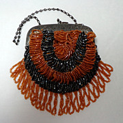 SALE Unusually Small Steel & Glass Beaded Purse.  Black & Caramel  Bugle Beads.  Adorable ++.