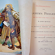 1892 Pilgrim's Progress by John Bunyan. Oversize.  Fabulous engraved & chromolithographed il