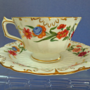 """Royal Crown Derby """"Chatsworth"""" Pattern Cup & Saucer.  Gilt & Florals.  Perfect Condition."""