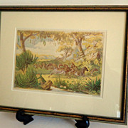 SOLD African Zebras.  Pastoral.  Thomas Baines Listed Artist. England.  Day & Son Famous Chrom