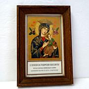 Italian. Roman  Framed Gold Lithograph. S. Maria de Perpetuo Succursu.  Holy Picture.  Small.