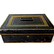 SALE Tin Cash Box with Inserts & Key.  Very, Very Old. Black & Gold.