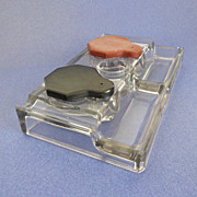 Double Inkwell / Desk Set.  Depression Era.  Clear Glass.  Bakelite covers.  Mint Condition.