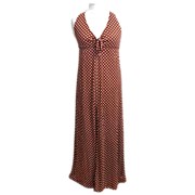 Long Halter Top Dress.  1970's.  Brown with White Polka Dots.  Mint Condition.