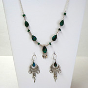 Peruvian Demi-parure. Necklace & Earrings.  Agate & Silver-toned Metal.  Lovely.  Mint conditi