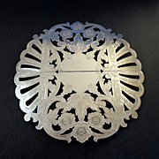 English Silver-plate Engraved Expanding Trivet.  Beautiful ++.  Mint Condition.