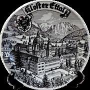 Kloster Ettal Germany.  Souvenir Plate.  Black & White.  Striking.