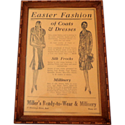 Framed 1930 Newspaper Fashion Ad.  Charming!  Excellent Condition.