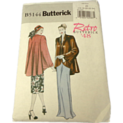 SOLD Retro '48 Butterick Pattern.  B5144.  Misses Jacket.  Size 16 - 24.  Uncut.  As New Con