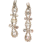 "Spectacular!  4"" long Runway Chandelier Rhinestone Earrings.  Quality construction! Mint con"