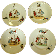 Nursery Dishes.  German 1920.  2 Sets.  Cereal / Soup Bowls & Under plates.  Charming.  Mint C