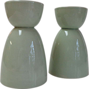 2 Double Eggcups.  Grindley England.  Celadon Green.  Perfect Condition.