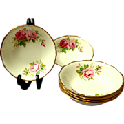 6 Royal Albert  Cereal  /  Soup Bowls.  American Beauty Pattern.  Mint Condition.