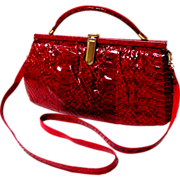 Red Lizard / Reptile Purse.  Convertible.  3 Ways.  Quality.
