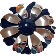 SALE Metal Enamel Flower Brooch.  2 Layers.  Navy & Silver Tone.  Perfect Condition.
