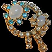 SALE Jay Flex  Sterling Combination Brooch Pendant.  Moonstones & Rhinestones.  Delicate Beaut