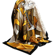 Picasso Print Scarf.  Earth tones.  Browns, black, gold, white.