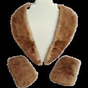 Genuine Mink Fur Collar and Cuffs.  Honey Brown.