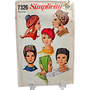 Simplicity #7326 Multiple Hats Pattern.  1967.  Uncut.  Rare.