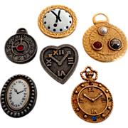 6  Clock Button Covers. 1970's.  All Different.  Mint Condition.