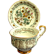 Paragon Cup and Saucer.  Special Pattern.  Wedding / Anniversary.  Perfect Condition.