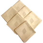"""SOLD Damask Napkins.  Six S Monogrammed.  22"""" Square.  As New.  Unused.  Top Quality."""
