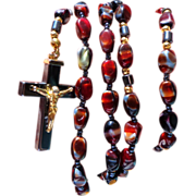 Beautiful Rosary.  Hematite and Blood Agate.  Perfect Condition.