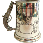 SOLD English Sheffield Pewter Mug.  Musket Handle.   Engraved Nelson's Battle of Trafalgar.