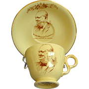 Royal Winton Winston Churchill PM cup and saucer.  1951.  Cream and Gold.  Perfect Condition.
