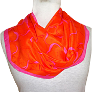 100% Silk Anne Klein for Vera  Scarf.  Oblong. Bias Cut.  Orange and Pink.  As New ...