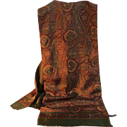 SOLD Men's  Italian 100% Wool and 100% Silk Scarf / Muffler.  Olive Green and Paisley Patter