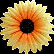 "Large 3 ¼""  Enameled Metal Sunflower Brooch."